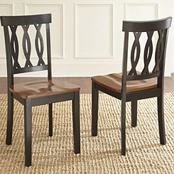 Anthony Cherry and Ebony Dining Chairs, Set of 2