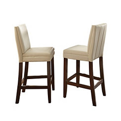 Adrian White Bonded Leather Bar Stools, Set of 2