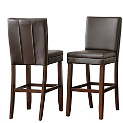 Adrian Brown Bonded Leather Bar Stools, Set of 2