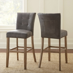Connor Tufted Gray Bar Stools, Set of 2