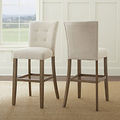 Connor Tufted Beige Bar Stools, Set of 2