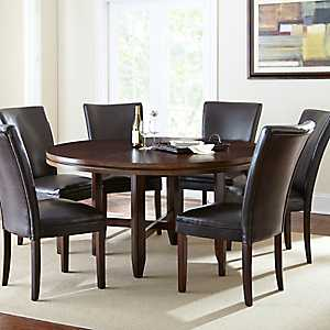 Hughes Round Dark Oak Dining Table, 62 in.