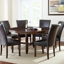 Hughes Round Dark Oak Dining Table, 62 in.