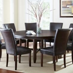 Hughes Round Dark Oak Dining Table, 72 in.