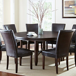 Hughes Round Dark Oak Dining Table, 72 in.