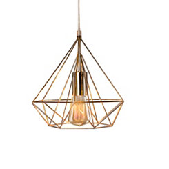 Polished Nickel Diamond Cage Pendant Lamp