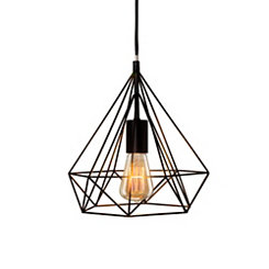 Black Metal Diamond Cage Pendant Lamp