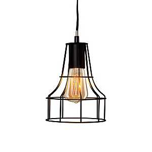Black Metal Cage Pendant Lamp with Canopy