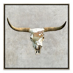 Gray Bull Skull Framed Canvas Art Print