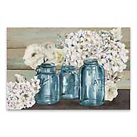 Colorful Flowers in Mason Jar Canvas Art Print