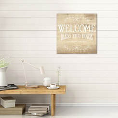 Bless this House Faux Wood Canvas Art Print