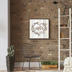 Gather Cotton Heart Wreath Framed Canvas Art Print