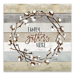 Family Gathers Here Cotton Wreath Canvas Art Print