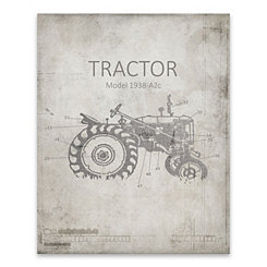Farm Tractor Blueprint Canvas Art Print