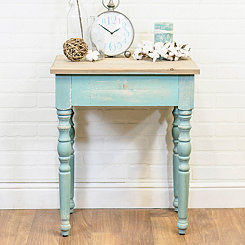 Distressed Blue Country Cottage Accent Table