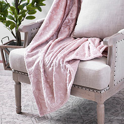 Rose Smoke Floral Embossed Throw