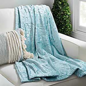 Blue Haze Floral Embossed Throw