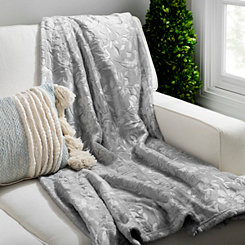 Gray Paloma Embossed Throw