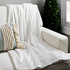 Ivory Floral Vine Embossed Throw