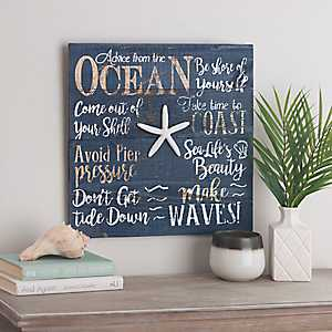 Navy Blue Advice From The Ocean Wall Plaque