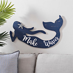 Navy Mermaid Wood Wall Plaque