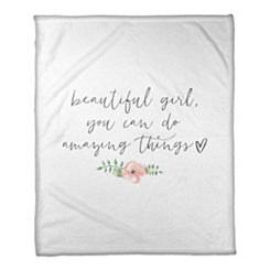 Beautiful Girl Fleece Throw Blanket
