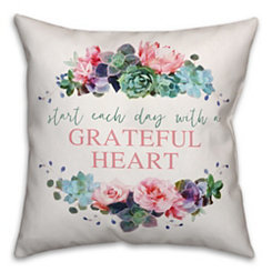 Grateful Heart Floral Pillow