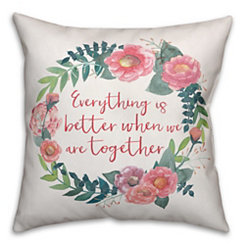 Better Together Floral Wreath Pillow
