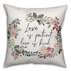 Love is Patient Floral Pillow
