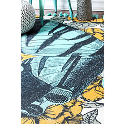 Blue Butterfly Area Rug, 3x5