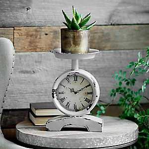 Distressed Gray Scale Tabletop Clock