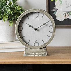 Distressed Gray Metal Tabletop Clock