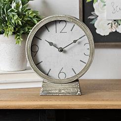 Distressed Gray Metal Tabletop Clock