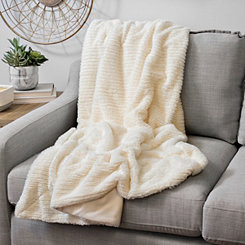 Barni Ivory Faux Fur Throw Blanket
