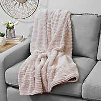 Barni Rose Smoke Faux Fur Throw Blanket