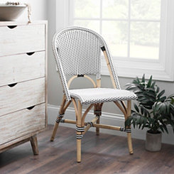 Black and White Rattan French Bistro Chair