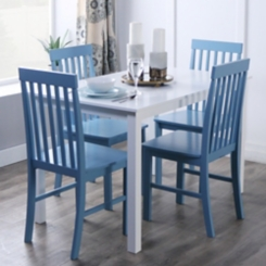 White and Powder Blue 5-pc. Dining Set