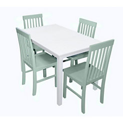 White and Mint Green 5-pc. Dining Set