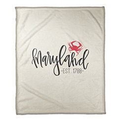 Maryland Cream Fleece Blanket
