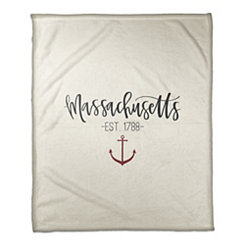 Massachusetts Cream Fleece Blanket