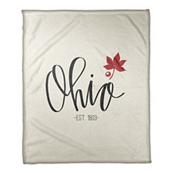 Ohio Cream Fleece Blanket
