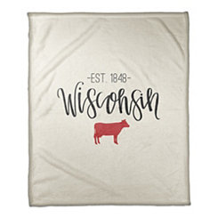 Wisconsin Cream Fleece Blanket