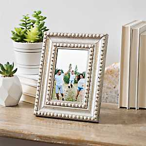 Distressed Silver Beaded Picture Frame, 4x6
