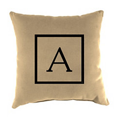 Natural Monogram A Outdoor Pillow