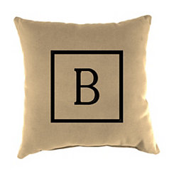 Natural Monogram B Outdoor Pillow