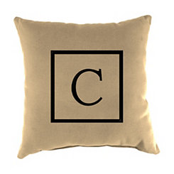 Natural Monogram C Outdoor Pillow