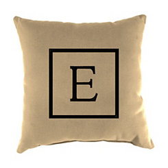 Natural Monogram E Outdoor Pillow