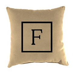 Natural Monogram F Outdoor Pillow