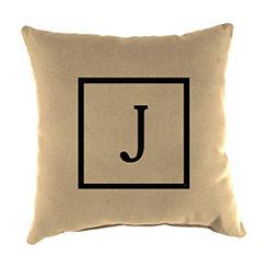 Natural Monogram J Outdoor Pillow