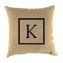 Natural Monogram K Outdoor Pillow
